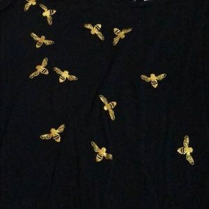 Tops - Black top with gold glittery bumble bees